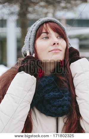 Fashion hipster young woman party model smile pretty freckles face ginger hair. Copyspace text.