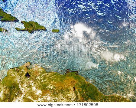 Caribbean On Illustrated Globe