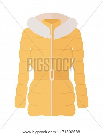Yellow down jacket with fur collar icon. Women everyday clothing in casual style flat vector illustration isolated on white background. For clothing store ad, fashion concept, app button, web design