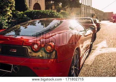 Ferrari show 8 october 2016 in Valletta Malta near Grand Hotel Excelsior. Back view of red Ferrari 430 Scuderia