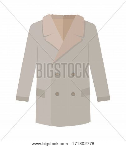 Warm coat with lapel icon. Mans everyday clothing in casual style for cold weather flat vector illustration isolated on white background. For clothing store ad, fashion concept, app button, web design
