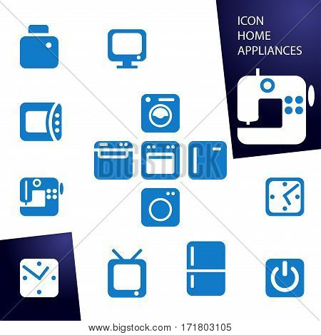 Set blue icons home appliances. washing machine, refrigerator, microwave, sewing machine, TV, watch start button. button for web