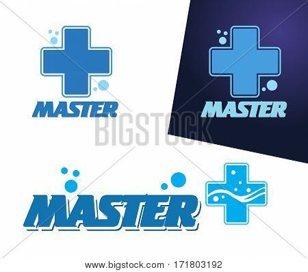 Logo Master lettering Brand symbol service home appliances. Vector illustration - text master and plus water bubbles. For business repair appliance, repair of bathtubs, faucets.