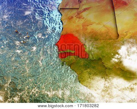 Senegal On Illustrated Globe