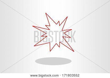 Illustration of boom flash against plain background