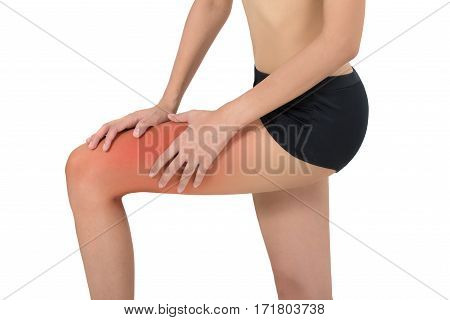 woman holding her beautiful healthy leg with massaging knee and calf in pain area with red highlighted Isolated on white background.