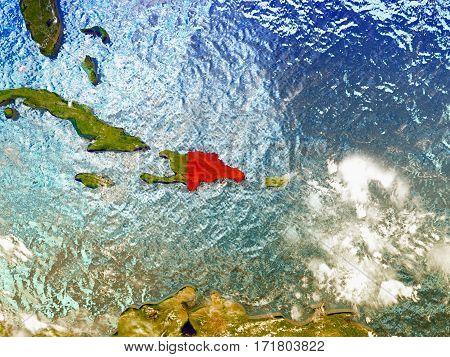 Dominican Republic On Illustrated Globe