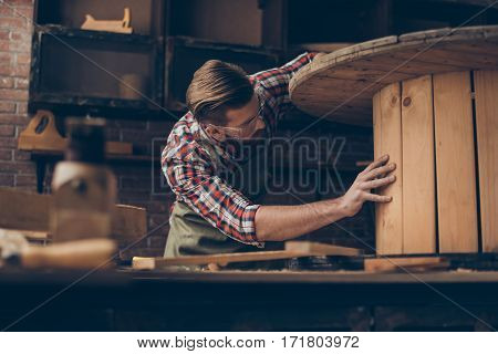 Handsome Joiner Check Wood.  Stylish Young Entrepreneur With Beautyful Hairstyle And Saved Glasses W