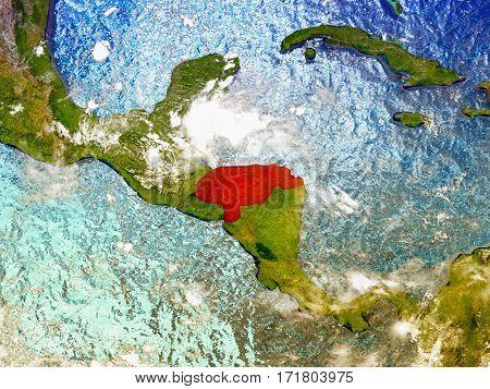 Honduras On Illustrated Globe