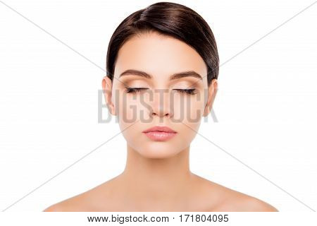 Beautiful Girl With Closed Eyes Showing Her Maquillage