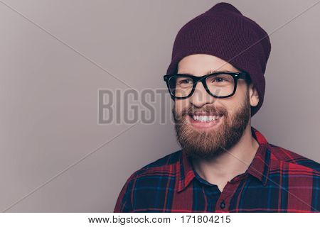 Cheerful Bearded Hipster Man In Glasses With Beaming Smile