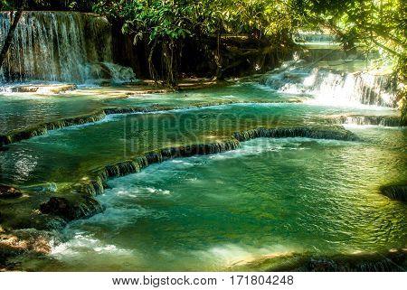 The idyllic Kuang Si Waterfall near Luang Prabang in Laos
