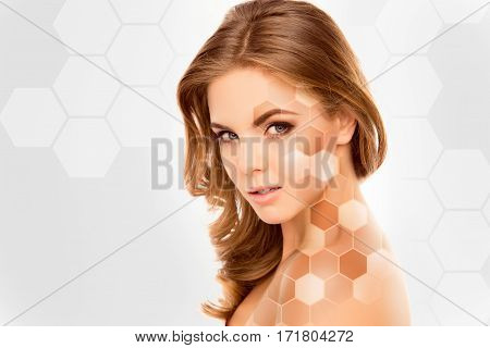 Cute beautiful female face with various types of skin tone