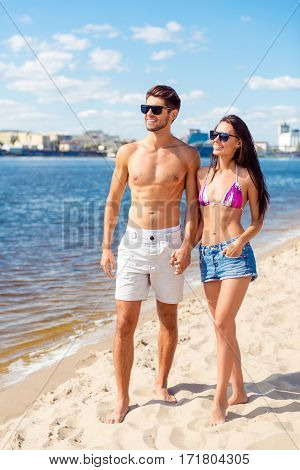 Summer Holidays And Dating Concept. Happy Lovers On The Seaside