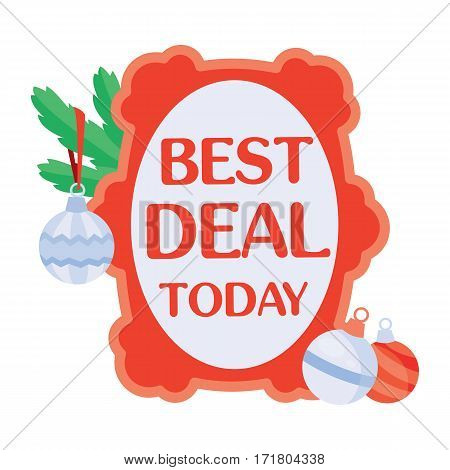 Best deal today sticker for Christmas sale. Bright red tag with christmas tree toys flat vector illustration isolated on white background. For stores traditional winter seasonal discounts promotions