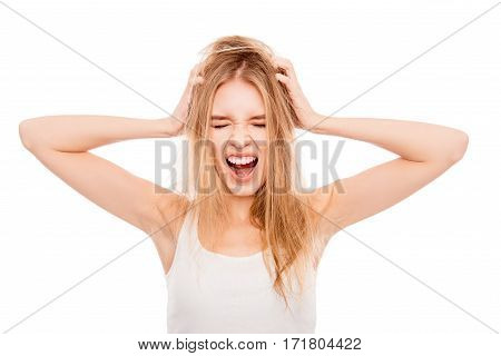 Frustrated Young Pretty Blonde With Damaged Hair Screaming