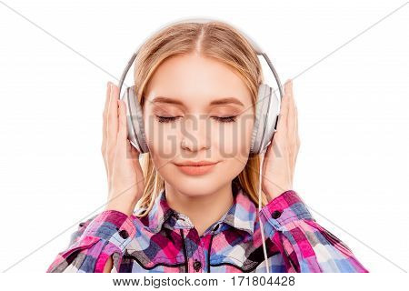 Beautiful Young Woman With Headphone Listening The Music With Pleasure