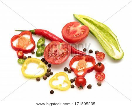 Colorful Vegetables, Allspice, Tomato, Capsicum, Chilli Pepper Isolated On White