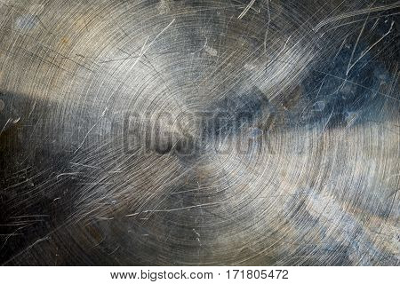 Metal Texture Industrial Background. Circles Polished Scratched Metallic Surface.