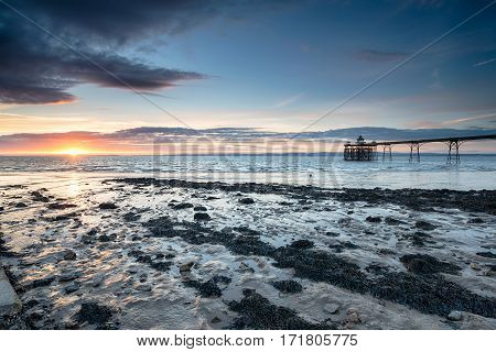 Sunset at Clevedon Pier on the Somerset coast
