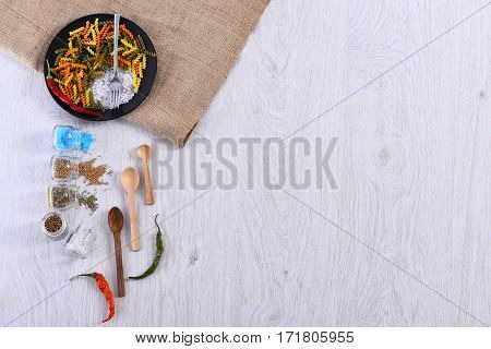 Plates With Pasta, Spoon, Chili Pepper, Spices, Fork, Sackcloth Napkin