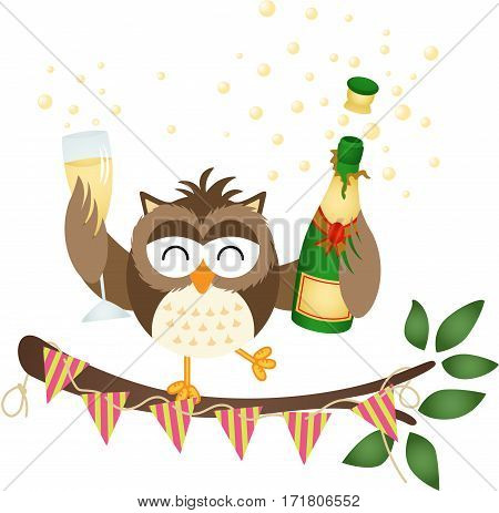 Scalable vectorial image representing a owl at a party with bottle of a champagne and glass, isolated on white.