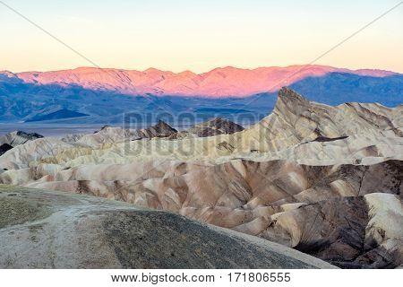 Death Valley National Park - Zabriskie Point at sunrise. California, USA.