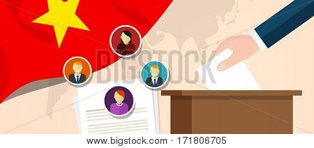 Vietnam democracy political process selecting president or parliament member with election and referendum freedom to vote vector