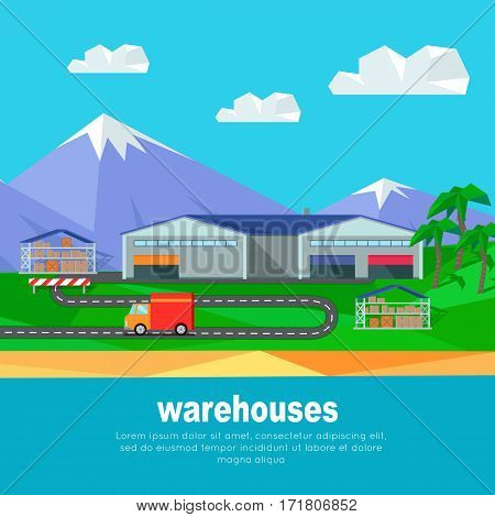 Warehouses in the mountains banner. Logistics container shipping and distribution. Transportation to any part of world. Overland delivering. Loading and unloading boxes. Vector illustration