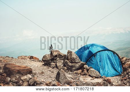 Tent camping in Mountains Landscape Travel Lifestyle concept Summer adventure vacations outdoor