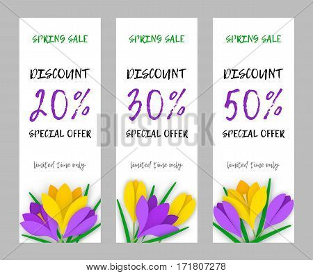 Set vertical narrow spring banner applique with colored paper flowers and an inscription discount for sale. Flowers yellow and purple crocuses with leaves on white background. Vector illustration