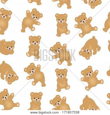 Scalable vectorial image representing a baby teddy bear seamless pattern background, isolated on white.