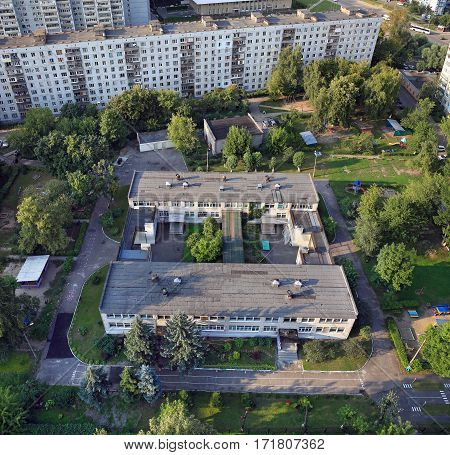 Top view of a kindergarten in the yard of a residential house. Balashikha, Moscow region, Russia.