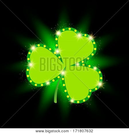 Happy St.patrick's Day With Shining Shamrock Background