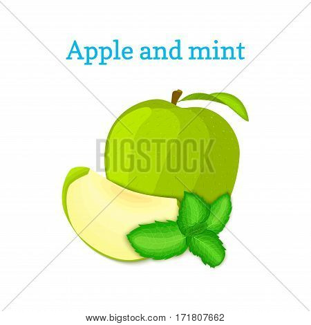 Vector composition of a few green apples and mint leaves. Fresh apple fruits appetizing looking. Group of tasty ripe apple with pepper mint leaf packaging design of juice, breakfast healthy vegan food