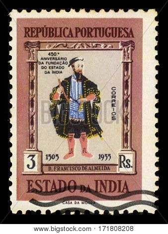 Portuguese India - circa 1956: A stamp printed in Portugal shows Dom Francisco de Almeida, 1st Viceroy of Portuguese India, circa 1956