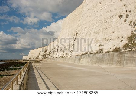 Seafront with chalk cliffs and shingle beach at Rottingdean near Brighton East Sussex England
