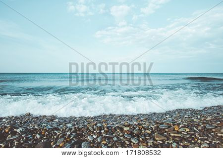 Sea waves summer Landscape calm and tranquility scenic view summer vacations travel