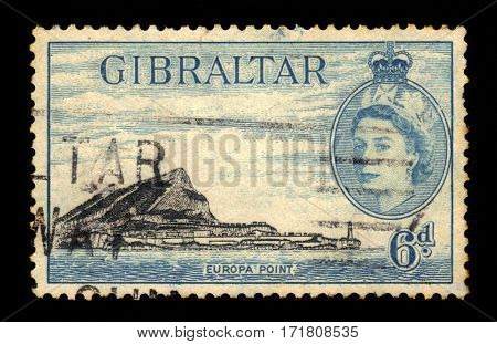 GIBRALTAR - CIRCA 1953: A stamp printed in Gibraltar shows Europa Point, southernmost point of Gibraltar, circa 1953