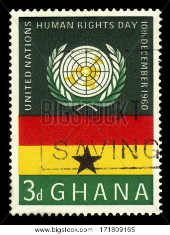 Ghana - circa 1959: A stamp printed in Ghana shows Ghana flag and UN emblem, United Nations human rights day, circa 1959