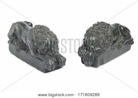 Vintage Sculpted Iron Lion Bookends Cut Out