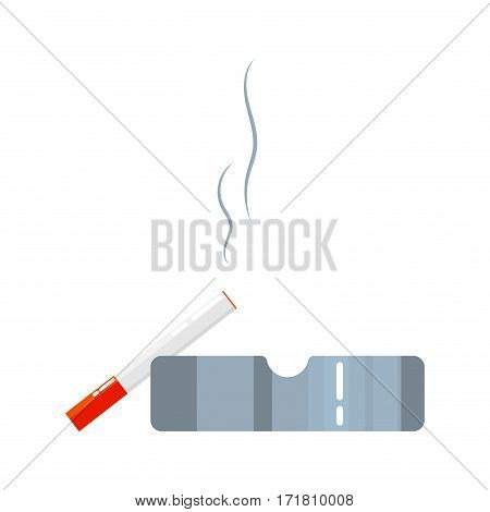 Ashtray with smoldering cigarette cartoon vector illustration isolated on white.