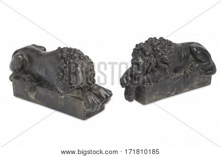 Vintage Iron Sculpted Lion Bookends