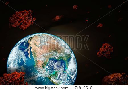 Planet Earth surrounded by meteorites. Elements of this image furnished by NASA.