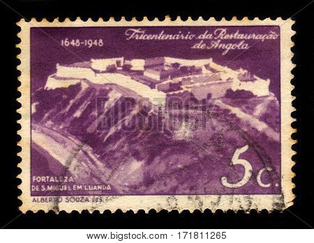 Angola - circa 1948: A stamp printed in Angola shows Saint Michael Fortress, portuguese fortress built in Luanda, 300th anniv. of the restoration of Angola to Portugal, circa 1948