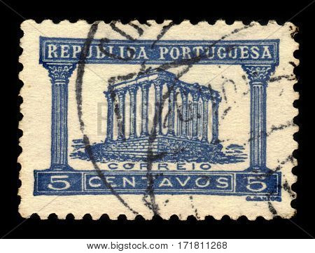 PORTUGAL - CIRCA 1935: A stamp printed in Portugal shows ruins of the roman  Temple of Diana, Evora, circa 1935