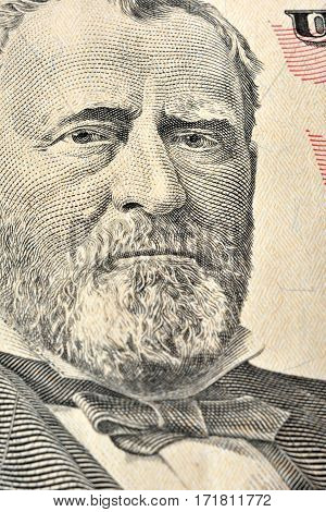 Ulysses S. Grant face on United States fifty-dollar bill macro close up