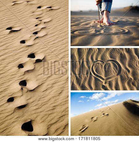 Collage with sand and beach images