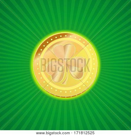 Gold coin with the image of shamrock clover on a vintage background. Element of design for St. Patrick's Day. Gold leprechaun. St. Patrick's day symbol. Vector illustration