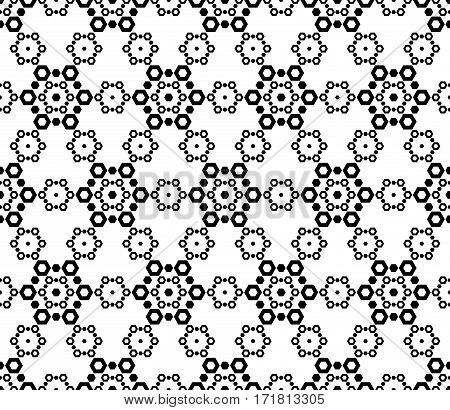 Monochrome seamless pattern. Black & white vector abstract ornamental texture. Ornate design with simple geometric figures. Illustration of lace, delicate hexagonal grid. Elegant backdrop